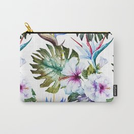 Watercolor Tropical Hibiscus Carry-All Pouch