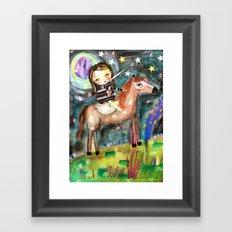 Riding a horse Framed Art Print