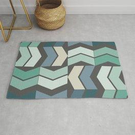 Vintage Geometric Pattern Chevron Blue Green Black Rug