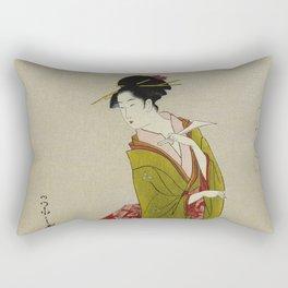 Itsutomi - Vintage Japanese Woodblock Rectangular Pillow