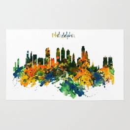 Philadelphia Watercolor Skyline Rug