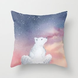 Starlit Sky Over the Arctic Throw Pillow