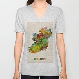 Ireland Eire Watercolor Map Unisex V-Neck