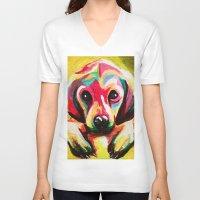 puppy V-neck T-shirts featuring Puppy by stepanka hejlova