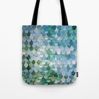 monika strigel Tote Bags featuring REALLY MERMAID by Monika Strigel