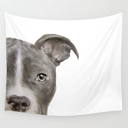Pit bull with white background Wall Tapestry