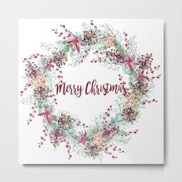 Xmas Wreath White Metal Print