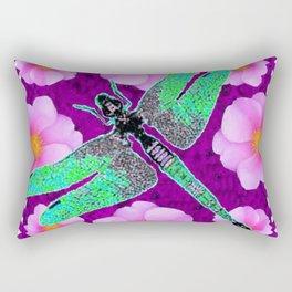 Decorative Nouveau Aqua Dragonfly Pink Roses Rectangular Pillow