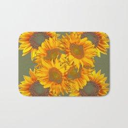 Golden Sunflowers on Putty Color  Art Bath Mat