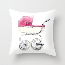 Baby Carriage in Pink Vintage Nursery Baby Girl Throw Pillow