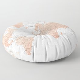 """Rose gold world map with cities, """"Hadi"""" Floor Pillow"""