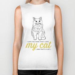 I love you more than my cat Biker Tank
