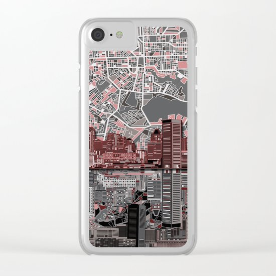 baltimore city skyline abstract Clear iPhone Case