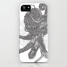 Octopus Bloom black and white iPhone (5, 5s) Slim Case
