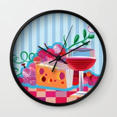 Wine & Cheese Party Wall Clock