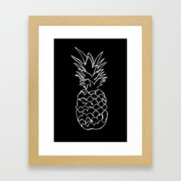 single line pineapple (white) Framed Art Print
