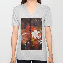 Hummingbird and flower graffiti Unisex V-Neck