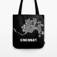cincinnati Tote Bags featuring Cincinnati by Ricky Riccardo