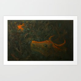 Lost in the woods cow is looking at the red moon. Art Print