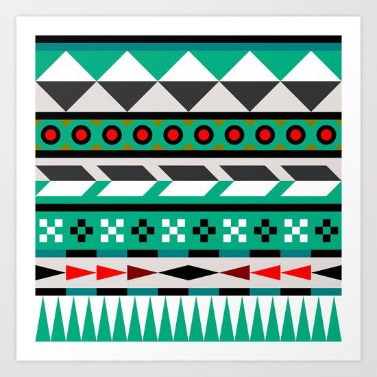 Geometric Aztec Pattern Art Print