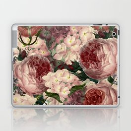 Vintage & Shabby Chic Pink Dark Floral Roses Lilacs Flowers Watercolor Pattern Laptop & iPad Skin