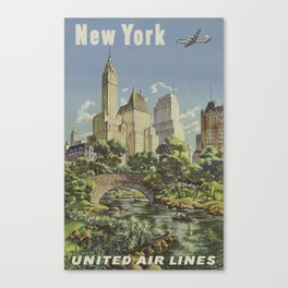 New York, United Airlines - Vintage Travel Poster Canvas Print