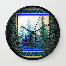 PINE TREES BLUE FOREST  LANDSCAPE TEAL PATTERN Wall Clock