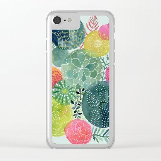 Succulent Circles Clear iPhone Case