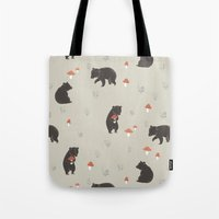 bears Tote Bags featuring Bears by A.Vogler