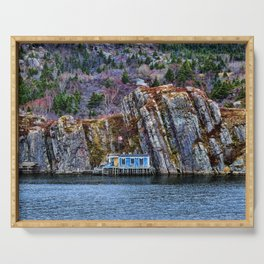 Old Fisherman House on water in Newfoundland, canada Serving Tray