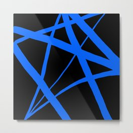 China Blue Star Abstract on Black Metal Print