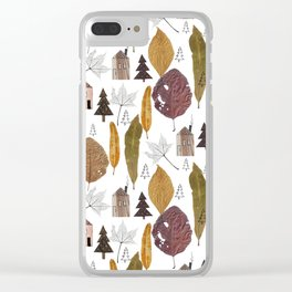 Pattern with autumn leaves and houses and spruces. Clear iPhone Case