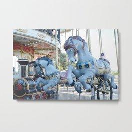 Paris Carousel Merry Go Round Horses - Baby Boy Blue Nursery Decor Metal Print