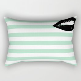 Pastel Goth - Mint Stripes and Lips 2 Rectangular Pillow