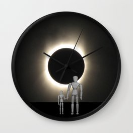 Wooden Anatomy Father Doll and Child before Total Solar Eclipse Wall Clock