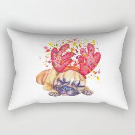 Boxer puppy with deer antlers Rectangular Pillow