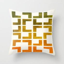 Geometric Pattern L Shaped Watercolor Painting Olive Green Yellow Ochre Colorful Pattern Art Throw Pillow
