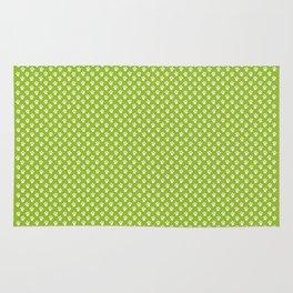Tiny Paw Prints Pattern - Bright Green & White Rug