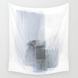 Blue Grey Minimalist Abstract Painting Wall Tapestry