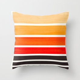 Orange Minimalist Watercolor Mid Century Staggered Stripes Rothko Color Block Geometric Art Throw Pillow