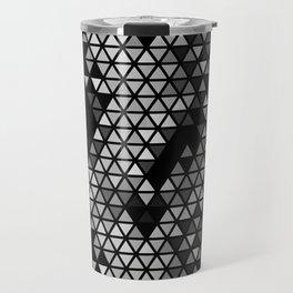 Geometric Fractal Triangles Black Noir Travel Mug