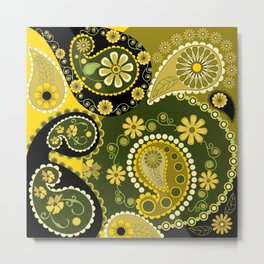 Paisley Patterns, Flowers and Circles Metal Print