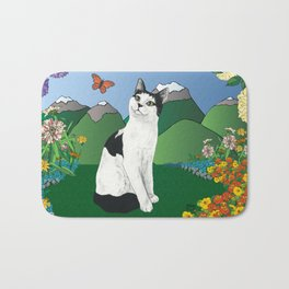 Black and White Cat in the garden - Alfie Chinacat by Nina lyman Bath Mat