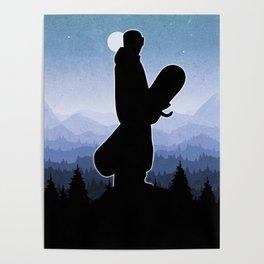 Snowboard Skyline Stand Poster