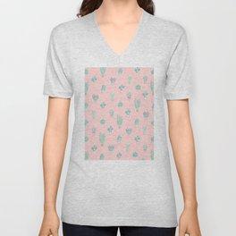 Little succulent pattern on pastel pink Unisex V-Neck