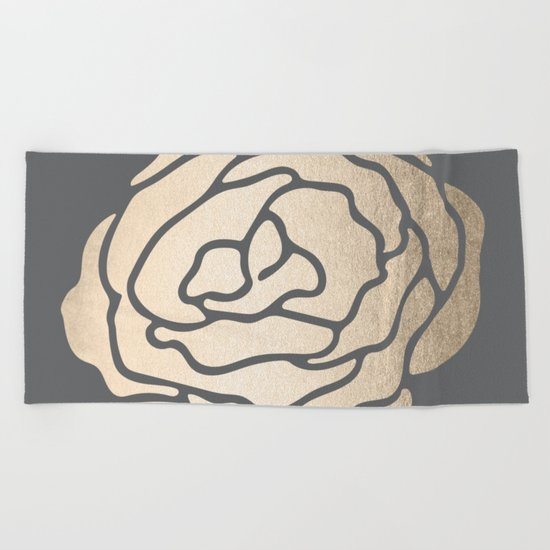 Rose in White Gold Sands on Storm Gray Beach Towel