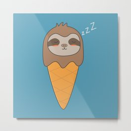 Kawaii Cute Sloth Ice Cream Metal Print