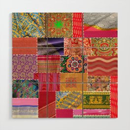 Boho Sari Patchwork Quilt Wood Wall Art