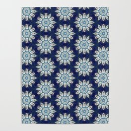 Daisies over Blue Geometric Pattern Design Poster