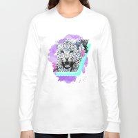 fierce Long Sleeve T-shirts featuring Fierce Leopard by Kangarui by Rui Stalph
